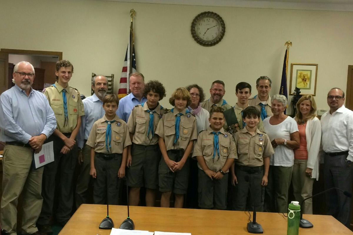 The Eagle Scouts of Valhalla earned an appreciation award from Village Officials.