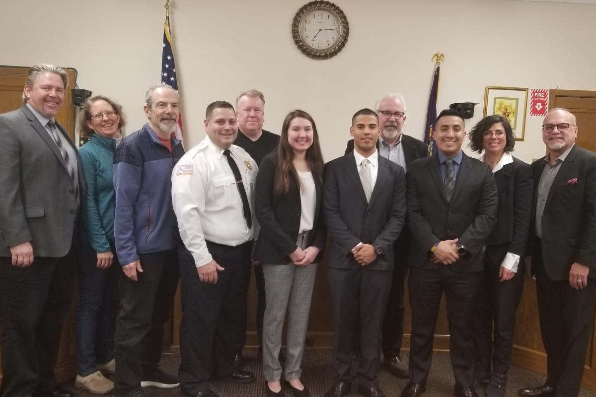 L to R Administrator Giaccio, Trustee Gebler, Deputy Mayor Rosenbloom, Police Chief Bueti, Trustee Leavy, PO Melissa Ojito, PO Julio Sosa, Mayor Wray, PO Llivisaca, Trustee Spiro and Trustee Gonzalez