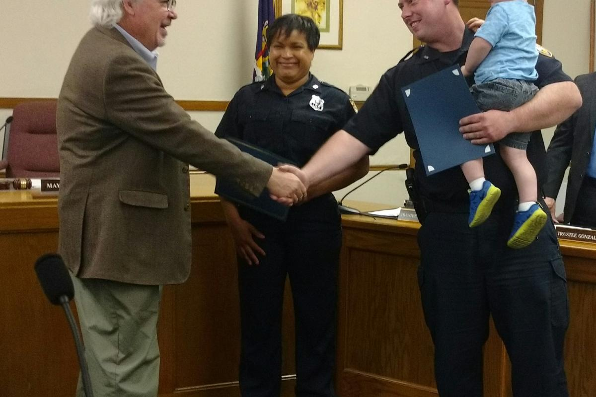 Police Officer Morrison receives Life Saving Award (missing from picture, EMT Niensted)